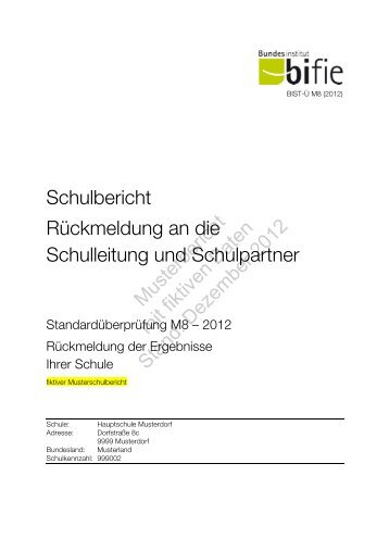 Schulbericht I M8 - Bifie