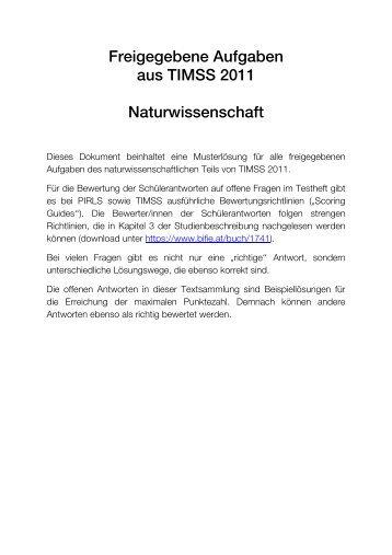 Freigegebene Aufgaben aus TIMSS 2011 Naturwissenschaft - Bifie