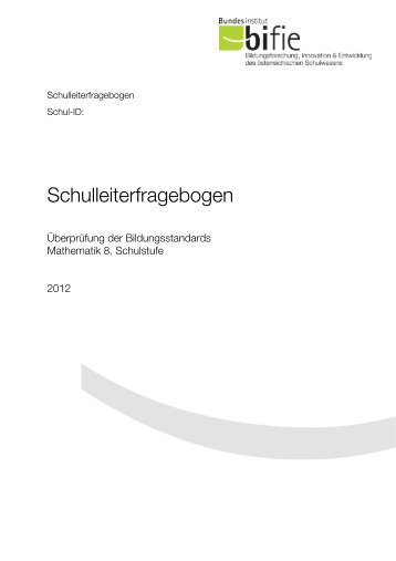 Schulleiterfragebogen - Bifie