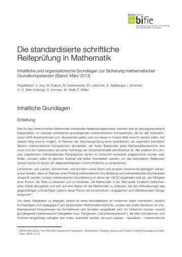 Die standardisierte schriftliche Reifeprüfung in Mathematik - Bifie