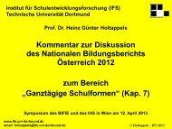 Kommentar zur Diskussion des NBB 2012 zum Bereich - Bifie