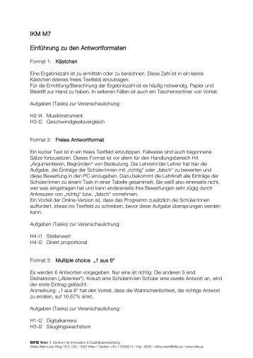 Freigegebene Tasks IKM M7 - Bifie