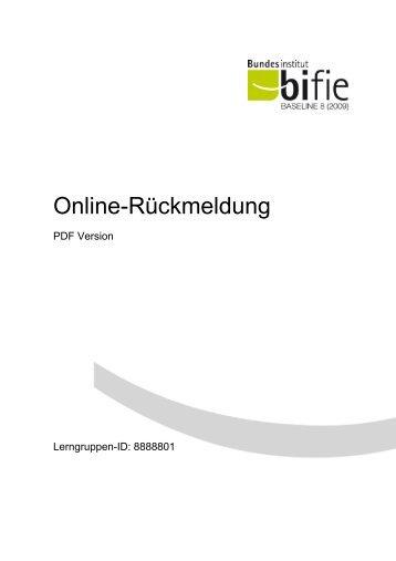 Muster Lehrerrückmeldung Baseline 8 - Bifie