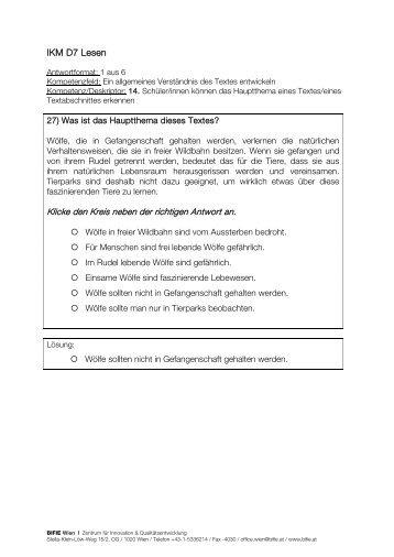 Freigegebene Tasks IKM D7 Lesen (2010) - Bifie