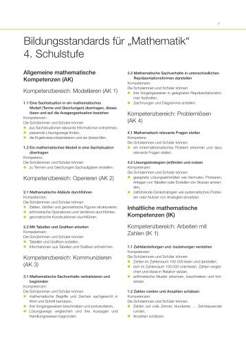 Kompetenzbereiche Mathematik 4. Schulstufe - Bifie