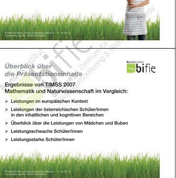 TIMSS 2007 Schülerleistungen im Überblick - Bifie