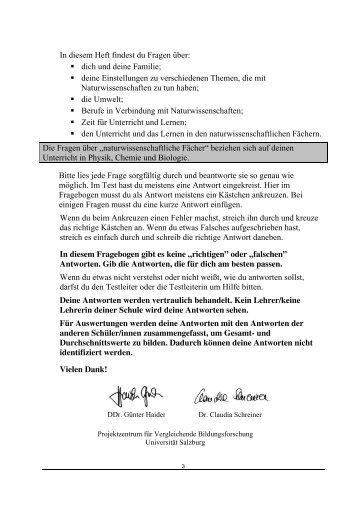 PISA 2006 Internationaler Schülerfragebogen - Bifie