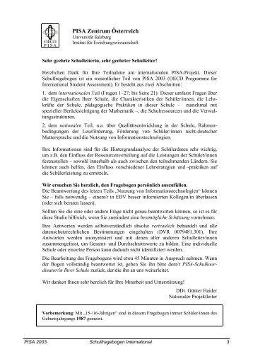 Internationaler Schulfragebogen - Bifie