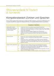 Kompetenzbereiche Deutsch 8. Schulstufe - Bifie
