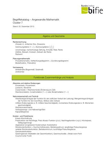 Begriffekatalog – Angewandte Mathematik Cluster 7 - Bifie