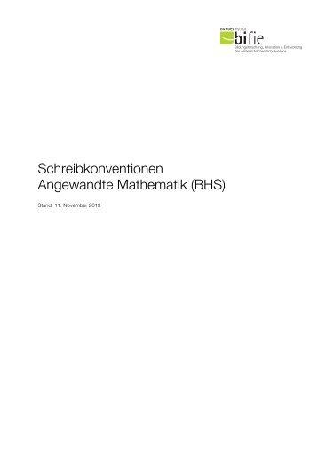 Schreibkonventionen Angewandte Mathematik (BHS) - Bifie