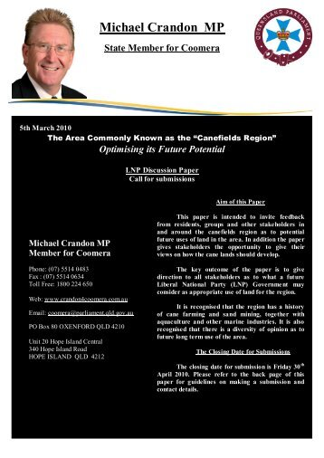 Michael Crandon MP and the Liberal National Party - Crandon for ...