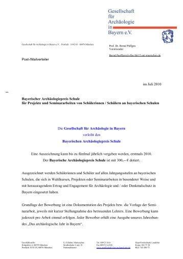 Bayerischer Archäologiepreis Schule für Projekte und ...