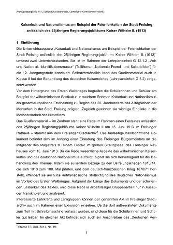 Kaiserkult in Freising 1913 I: Unterrichtskonzept - Historisches ...