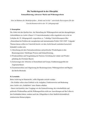Die Nachkriegszeit in der Oberpfalz - Historisches Forum Bayern