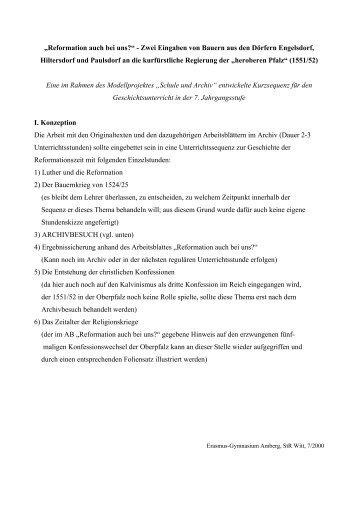 Die Reformation in der Oberpfalz - Historisches Forum Bayern