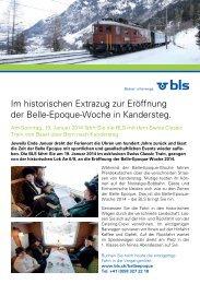 Im historischen Extrazug zur Eröffnung der Belle-Epoque-Woche - BLS