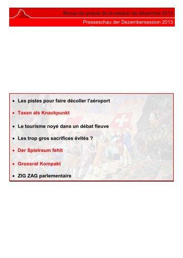 Revue de presse de la session de décembre 2013 ... - Etat du Valais