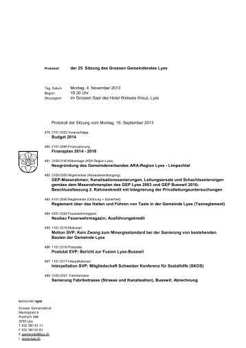 der 25. Sitzung des Grossen Gemeinderates Lyss ... - Gemeinde Lyss