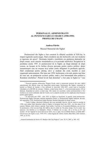 PERSONALUL ADMINISTRATIV AL PENITENCIARULUI SIGHET ...
