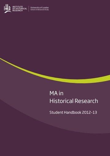 MA handbook - Institute of Historical Research