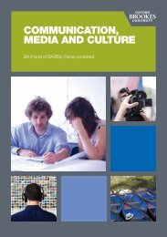 communication, media and culture - Oxford Brookes University ...