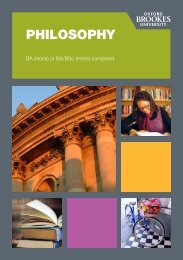 PHILOSOPHY - Oxford Brookes University - Department of History