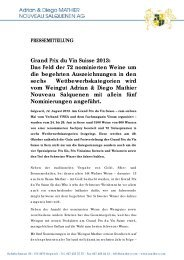 Grand Prix du Vin Suisse 2013: Das Feld der 72 ... - Mathier