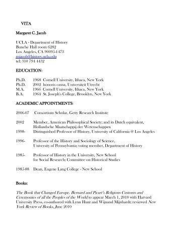 Curriculum Vitae - UCLA's History Department