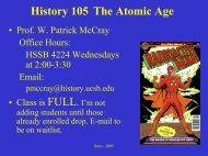 The Atomic Age Course Introduction - Department of History