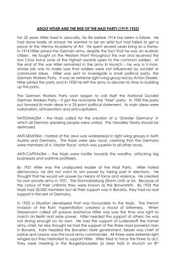 The Rise of Hitler and the Nazi Party - Historyatfreeston.co.uk