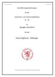 A – G Spieljahr 2013/2014 Kreis Hofgeismar - Wolfhagen
