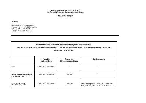 04. Juli 2013 Teil 1 - Börse Stuttgart