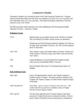 jamestown settlement essay