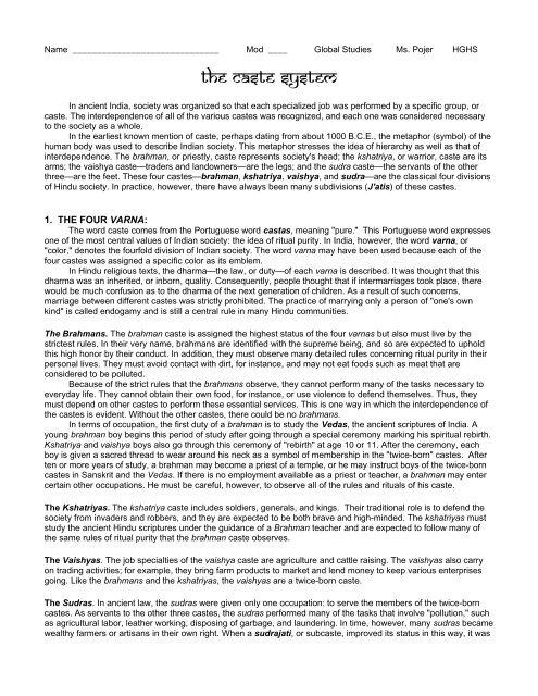 The caste system - Historyteacher net