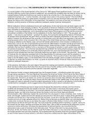 Frederick Jackson Turner, THE SIGNIFICANCE ... - Historyteacher.net