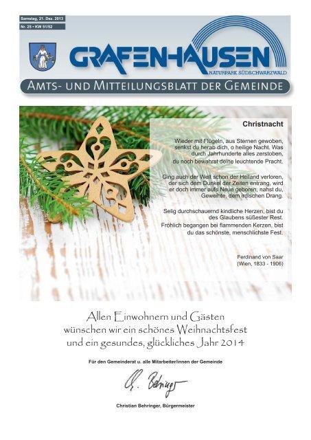 Mitteilungsblatt Nr. 25, KW 51 - Gemeinde Grafenhausen