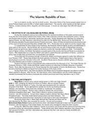 The Islamic Republic of Iran - Historyteacher.net