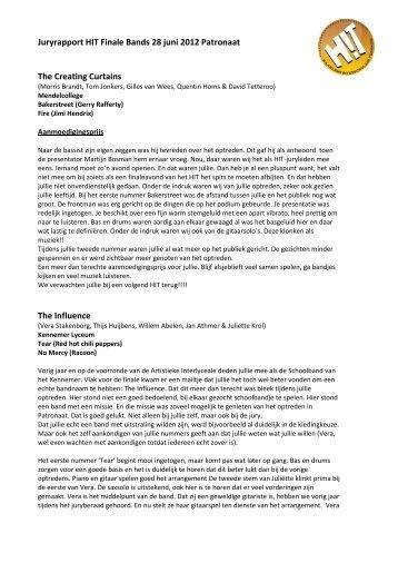 Juryrapport Eigentijdse Muziek Bands 2012 - HIT Haarlem