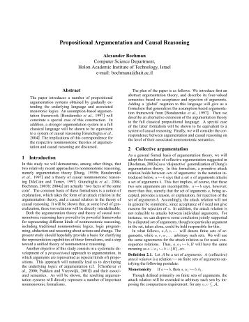 Propositional Argumentation and Causal Reasoning