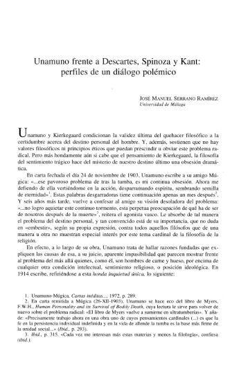 Unamuno frente a Descartes, Spinoza y Kant: perfiles de ... - Gredos