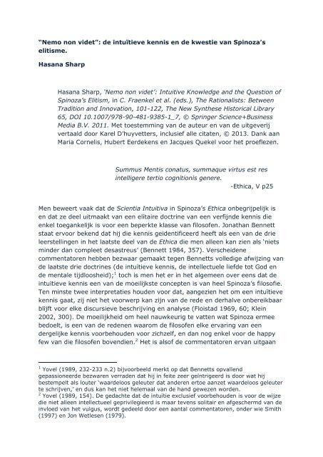 """""""Nemo non videt"""": de intuïtieve kennis en de kwestie van Spinoza's ..."""