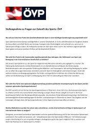 Stellungnahme zu Fragen zur Zukunft des Sports: ÖVP