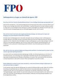 Stellungnahme zu Fragen zur Zukunft des Sports: FPÖ