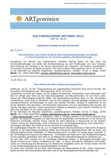kulturkalender oktober 2013 - Embajada de la República Argentina ...