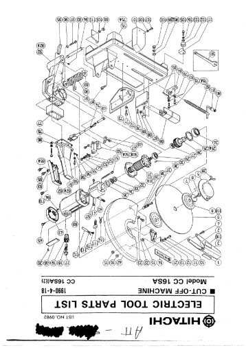 B16rm Exploded Diagram And Parts Listing Hitachi Power Tools