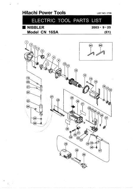 CN16SA Exploded Diagram and Parts Listing - Hitachi