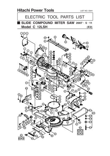 DW25EF Exploded Diagram and Parts Listing - Hitachi