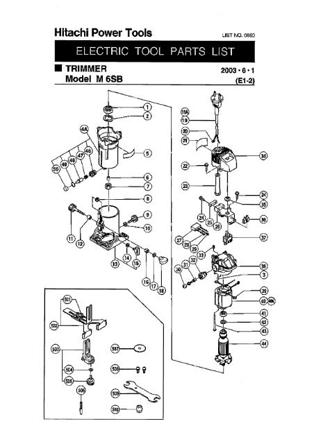 M6SB Exploded Diagram and Parts Listing - Hitachi