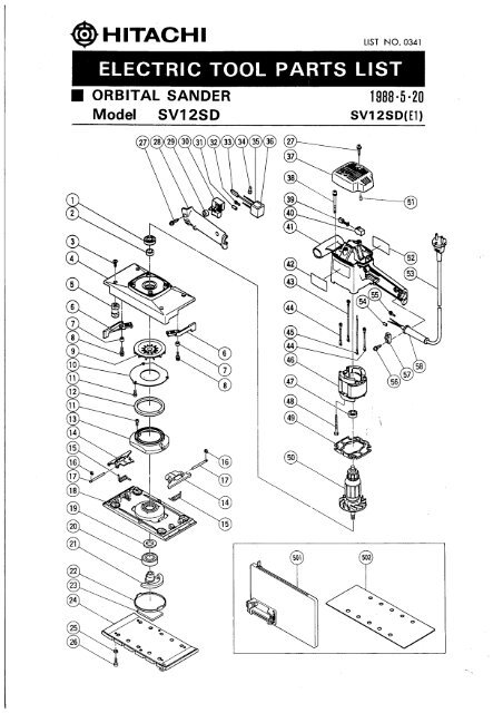 SV12SD Exploded Diagram and Parts Listing - Hitachi